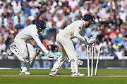 Wicket -  Jasprit Bumrah of India is run out during day 3 of the 5th test match of the International Test Match 2018 match between England and India at the Oval, London, United Kingdom on 9 September 2018.