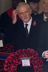 © Licensed to London News Pictures. 12/11/2017. London, UK. British Labour party leader JEREMY CORBYN<br /> attends a Remembrance Day Ceremony at the Cenotaph war memorial in London, United Kingdom, on November 13, 2016 . Thousands of people honour the war dead by gathering at the iconic memorial to lay wreaths and observe two minutes silence. Photo credit: Ray Tang/LNP