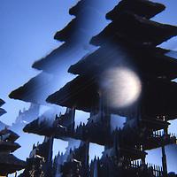 Temple 'pagoda' silhouette repeated in hallucinatory multi-prism effect