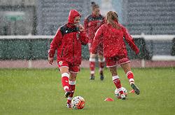 Millie Farrow of Bristol City Women warms up in the heavy rain - Mandatory by-line: Robbie Stephenson/JMP - 25/06/2016 - FOOTBALL - Stoke Gifford Stadium - Bristol, England - Bristol City Women v Oxford United Women - FA Women's Super League 2
