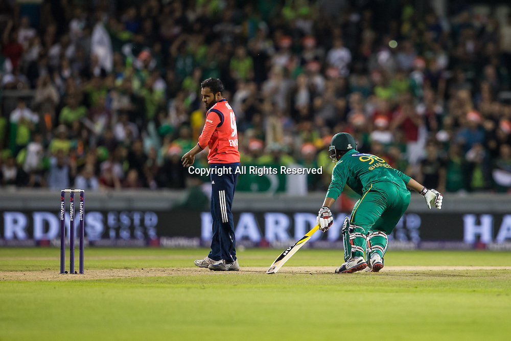 07.09.2016. Old Trafford, Manchester, England. Natwest International T20 Cricket. England Versus Pakistan. Pakistan opening batsman Sharjeel Khan takes a run.