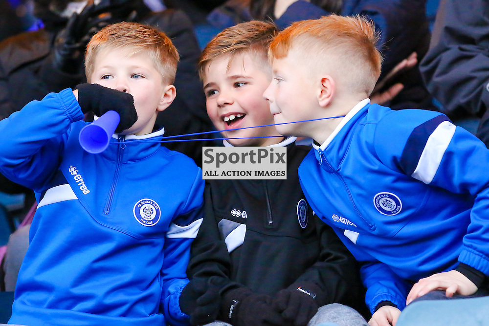 Rochdale fans blowing the vuvuzela during Rochdale v Wigan Athletic , Sky Bet League One Match, 14 November 2015<br /> Picture by Jackie Meredith/SportPix.org.uk