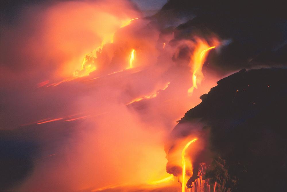 Lava flow entering the sea from Pu'u O'o vent, Kamoamoa coastline, Hawaii Volcanoes National Park, Hawaii