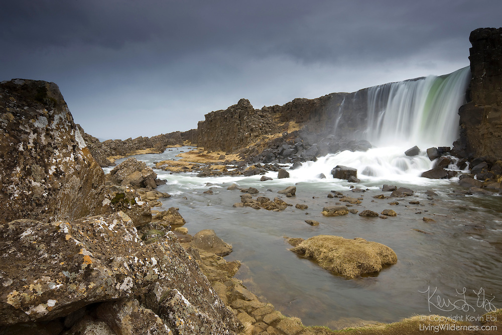 Öxaráfoss, a waterfall in Þingvellir, drops into a gorge created by the separation of the North American and Eurasian tectonic plates. This gorge is widening at a rate of as much as a couple centimeters per year.