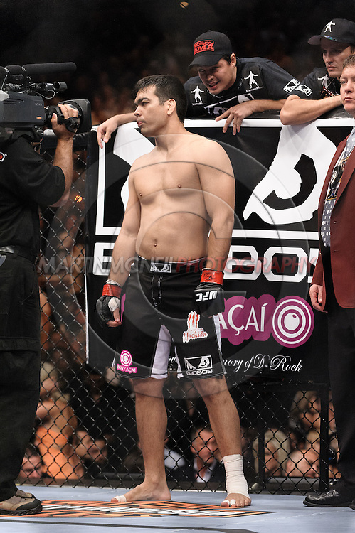 "LAS VEGAS, NEVADA, MAY 24, 2008: Lyoto Machida stands ready in his corner during ""UFC 84: Ill Will"" inside the MGM Grand Garden Arena in Las Vegas"
