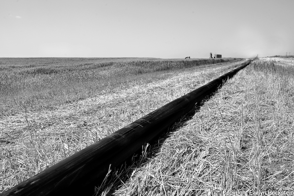 """Oil pipe line runs through fields outside of Watford City, North Dakota. Williston (""""Kuwait on the Prairie""""), Watford City and their neighboring towns in North Dakota sit atop the biggest lake of oil to be discovered in North America since Alaska's Prudhoe Bay in 1968. .."""
