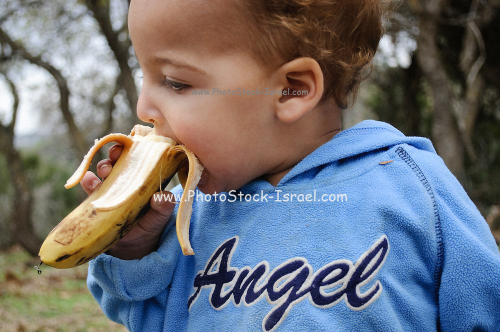 Two year baby boy eats a banana