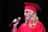 Chelsea Walters sings during the 102nd commencement of West Carrollton High School at the Schuster Center in downtown Dayton, Thursday, May 24, 2012.  This is the 50th anniversary of the year the selection of speakers for (and other parts of) the commencement has been done by the students.