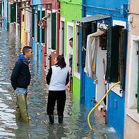 Locals talk about  the alarming situation in Burano. More than 59% of Venice was under water on Thursday, as the historic lagoon town was hit by exceptionally high tides. The sea level rose above 140cm overnight and was expected to remain above critical levels for about 15 hours.