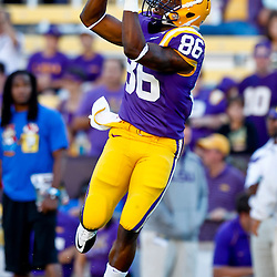 October 16, 2010; Baton Rouge, LA, USA; LSU Tigers wide receiver Kadron Boone (86) during warm ups prior to kickoff against the McNeese State Cowboys at Tiger Stadium. LSU defeated McNeese State 32-10. Mandatory Credit: Derick E. Hingle