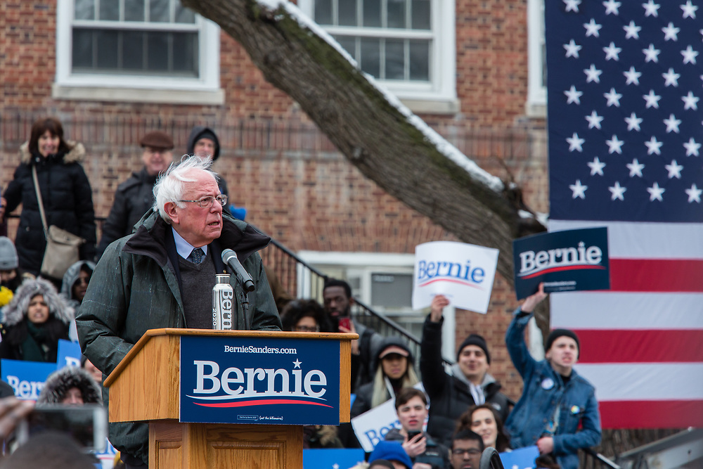 Brooklyn, NY - 2 March 2019. Bernie Sanders' speaking at his first rally for the 2020 presidential primary at Brooklyn College.