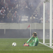 Joe Willis the D.C. United goalkeeper saves a retaken penalty by Kenny Cooper during the New York Red Bulls V D.C. United Major League Soccer, Eastern Conference Semi Final 2nd Leg match at Red Bull Arena, Harrison. New Jersey. USA. 8th November 2012. Photo Tim Clayton
