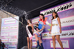Annemiek van Vleuten celebrates the stage win on Stage 5 of the Giro Rosa - a 12.7 km individual time trial, starting and finishing in Sant'Elpido A Mare on July 4, 2017, in Fermo, Italy. (Photo by Sean Robinson/Velofocus.com)