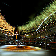 Fireworks exploded during the Closing Ceremonies of the 2004 Summer Olympic Games at Olympic Stadium.