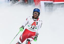 "29.01.2019, Planai, Schladming, AUT, FIS Weltcup Ski Alpin, Slalom, Herren, 2. Lauf, im Bild Marco Schwarz (AUT) // Marco Schwarz of Austria reacts after his 2nd run of men's Slalom ""the Nightrace"" of FIS ski alpine world cup at the Planai in Schladming, Austria on 2019/01/29. EXPA Pictures © 2019, PhotoCredit: EXPA/ Martin Huber"