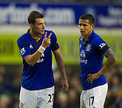 04122011, Goodison Park, Liverpool, ENG, Premier League, FC Everton vs Stoke City, 14 Spieltag, im Bild Everton's Apostolos Vellios and Tim Cahill during the football match of english Premier League, 14th round between FC Everton and Stoke City at Goodison Park, Liverpool, ENG on 2011/12/04. EXPA Pictures © 2011, PhotoCredit: EXPA/ Sportida/ David Rawcliff..***** ATTENTION - OUT OF ENG, GBR, UK *****