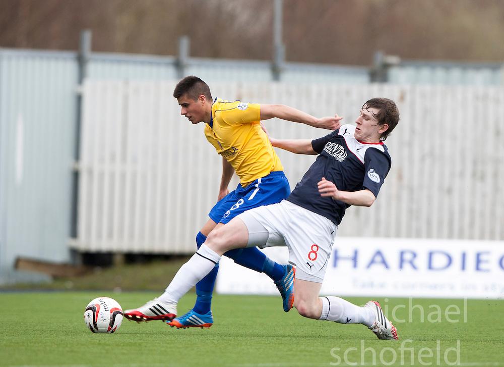 Cowdenbeath's Jamie Stevenson and Falkirk's Blair Alston.<br /> half time : Falkirk 3 v 0 Cowdenbeath, Scottish Championship game played today at The Falkirk Stadium.<br /> &copy; Michael Schofield.