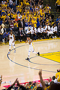 Golden State Warriors guard Shaun Livingston (34) celebrates a dunk during Game 2 of the NBA Finals against the Cleveland Cavaliers  at Oracle Arena in Oakland, Calif., on June 4, 2017. (Stan Olszewski/Special to S.F. Examiner)
