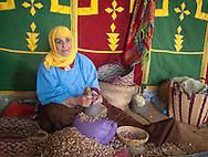 A woman works in a women run argan cooperative near Essaouira, Morocca.