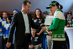 Enzo Smrekar gives award to Vesna Fabjan during Media day of Ski Association of Slovenia before new winter season 2014/15 on October 20, 2014 in Hisa Kulinarike Jezersek, Sora, Slovenia. (Photo by Matic Klansek Velej / Sportida)