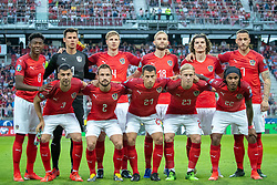 07.06.2019, Wörthersee Stadion, Klagenfurt, AUT, UEFA EM Qualifikation, Oesterreich vs Slowenien, Gruppe G, im Bild Startaufstellung Österreich, Teamfoto, vorne v.l. Aleksandar Dragovic (AUT), Andreas Ulmer (AUT), Stefan Lainer (AUT), Xaver Schlager (AUT), Valentino Lazaro (AUT), hinten v.l. David Alaba (AUT), Heinz Lindner (AUT), Martin Hinteregger (AUT), Konrad Laimer (AUT), Marcel Sabitzer (AUT), Marko Arnautovic (AUT) // Austria team photo front f.l. Aleksandar Dragovic of Austria Andreas Ulmer of Austria Stefan Lainer of Austria Xaver hit of Austria Valentino Lazaro of Austria second row f.l. David Alaba of Austria Heinz Lindner of Austria Martin Hinteregger of Austria Konrad Laimer of Austria Marcel Sabitzer of Austria Marko Arnautovic of Austria during the UEFA European Championship qualification, group G match between Austria and Slovenia at the Wörthersee Stadion in Klagenfurt, Austria on 2019/06/07. EXPA Pictures © 2019, PhotoCredit: EXPA/ Johann Groder
