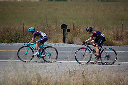 Kathrin Hammes (GER) of Trek-Drops Cycling Team and Tanja Erath (GER) of CANYON//SRAM Racing Team attack during Stage 1 of the Amgen Tour of California - a 124 km road race, starting and finishing in Elk Grove on May 17, 2018, in California, United States. (Photo by Balint Hamvas/Velofocus.com)