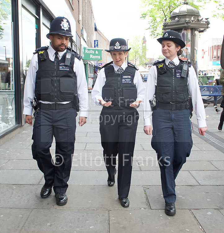 Cressida Dick, Metropolitan Police Commissioner visits the London borough of Lewisham, London, Great Britain <br /> <br /> 18th April 2017 <br /> <br /> She met with community members, officers and staff, and patrolled Lewisham High Street with dedicated Ward Officers.<br /> <br /> Lewisham Police Station is home to borough resources such as Neighbourhood Policing Teams, as well as specialist units such as the Mounted Branch, Trident and the Murder Investigation Team.<br /> <br /> On her visit today, the Commissioner said: &ldquo;I have been spending my first few days getting around London meeting and listening to officers, staff and members of the public. I want Londoners to feel they can approach anyone in the Met and talk to them about their concerns and what matters to them.<br /> <br /> &ldquo;This city deserves a truly modern police service based on our traditional policing values. Being back in the Met has reminded me of how special our officers and staff are, and the extraordinary job they do day in and day out for London. It&rsquo;s wonderful to be here.&rdquo;<br /> <br /> <br /> Photograph by Elliott Franks <br /> Image licensed to Elliott Franks Photography Services