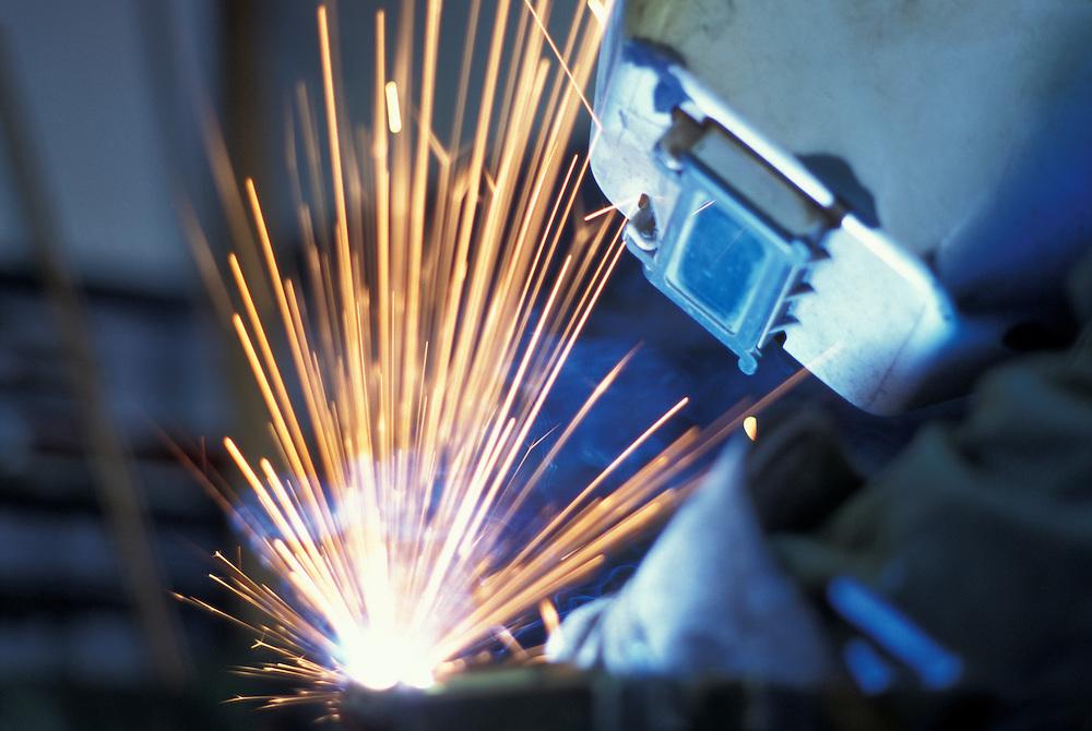 Canada, Saskatchewan, (MR) John Holowatuk at work in Stik's Welding shop in town of Yorkton