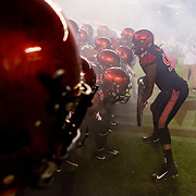 20 October 2018: San Diego State Aztecs defensive lineman Noble Hall (95) leads the team onto the field prior to taking on San Jose State. The Aztecs beat the Spartans 16-13 Saturday night at SDCCU Stadium.