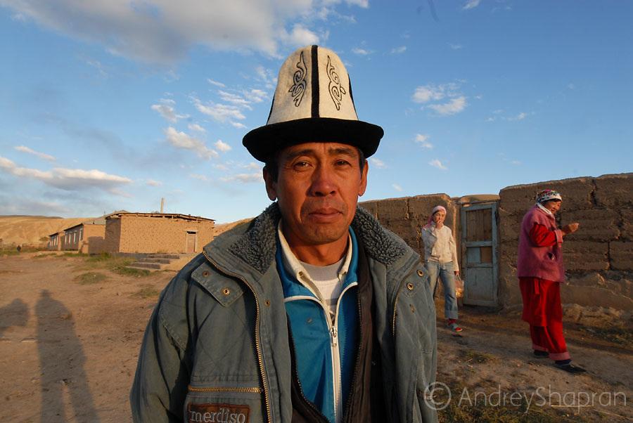 A portrait of a Kyrgyz man