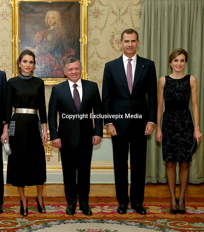 MADRID, 19/11/2015.<br /> Stunning queens Rania of Jordan and Letizia of Spain go head to head<br /> <br /> They are two of the world's most beautiful and stylish royals - and not used to fighting for attention. <br /> <br /> But today has seen a battle of the royal style icons as Queen Letizia welcomed Queen Rania to Spain.<br /> <br /> The pair looked radiant in shades of red as 43-year-old Letizia greeted Rania, 45, fresh off the plane, and then they transformed into visions in black come nightfall for an official dinner in Madrid.<br /> Queen Rania opted for a flowing mid-length number cinched in with a statement gold belt.<br /> <br /> The dress's pockets, collar and cuffs were embroidered with a matching black and white pattern, and she held a silver clutch back.<br /> <br /> Her hair was swept back into a low chignon and her open-toe shoe-boots added a trendy edge to the sophisticated outfit.<br /> Earlier today as they met at the airport, mother-of-two Letizia, stunned in an elegant dress in a bold red hue.<br /> <br /> The Spanish royal offset her look with a matching red clutch and bold stilettos. She wore her bobbed hair in tight curls to welcome the Queen of Jordan. <br /> <br /> Mother-of-four Rania, meanwhile, opted for a trendier outfit and donned a red and white wrap coat with blue pockets and a matching clutch. <br /> <br /> She wore her long brunette locks in bouncy curls as she touched down at Madrid's Barajas Adolfo Suarez airport with her husband, King Abdallah II of Jordan, for a two-day visit.  <br /> &copy;Exclusivepix Media