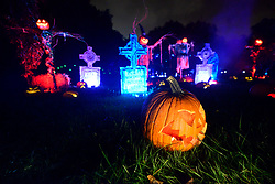 Large illuminated jack-o'-lantern display made of pumpkins, in Philadelphia, PA, on October 5, 2018. Visitors enjoy popular themes on display, carved out of five-thousand illuminated pumpkins.