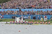 Eton Dorney, Windsor, Great Britain,..2012 London Olympic Regatta, Dorney Lake. Eton Rowing Centre, Berkshire[ Rowing]...Description;  Men's Eights Final...GBR.M8+ Alex PARTRIDGE (b) , James FOAD (2) , Tom RANSLEY (3) , Richard EGINGTON (4) , Mohamed SBIHI (5) , Greg SEARLE (6) , Matt LANGRIDGE (7) , Constantine LOULOUDIS (s) , Phelan HILL (c).USA.M8+ David BANKS (b) , Grant JAMES (2) , Ross JAMES (3) , William MILLER (4) , Giuseppe LANZONE (5) , Stephen KASPRZYK (6) , Jacob CORNELIUS (7) , Brett NEWLIN (s) , Zachary VLAHOS (c).NED.M8+. Sjoerd HAMBURGER (b) , Diederik SIMON (2) , Rogier BLINK (3) , Matthijs VELLENGA (4) , Roel BRAAS (5) , Jozef KLAASSEN (6) , Olivier SIEGELAAR (7) , Mitchel STEENMAN (s) , Peter WIERSUM (c)Dorney Lake. ..12:35:20  Wednesday  01/08/2012..[Mandatory Credit: Peter Spurrier/Intersport Images].