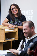 Moderator Norma Gallegos Valles laughs during the Cap Times Idea Fest 2018 at the Pyle Center in Madison, Wisconsin, Saturday, Sept. 29, 2018.