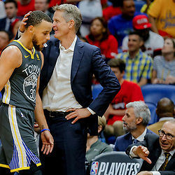 May 6, 2018; New Orleans, LA, USA; Golden State Warriors head coach Steve Kerr taps guard Stephen Curry (30) on the head as he exits the game during the fourth quarter in game four of the second round of the 2018 NBA Playoffs against the New Orleans Pelicans at the Smoothie King Center. The Warriors defeated the Pelicans 118-92. Mandatory Credit: Derick E. Hingle-USA TODAY Sports