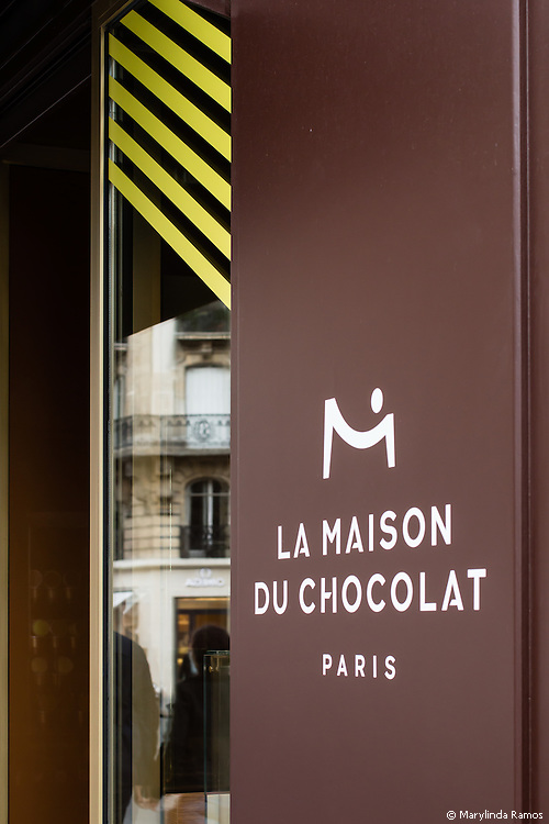Storefront of La Maison du Chocolat in Paris, one of France's premier chocolatiers.  (Editorial use only.)