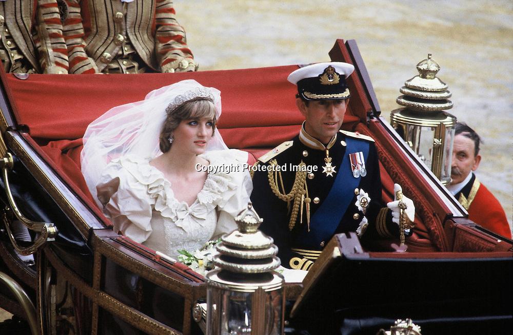 A 1981 photo of Princess Diana and Prince Charles' wedding day.  London, ENGLAND - 1981.