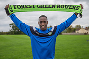 Isiaih Osbourne signing a contract with Forest Green Rovers at Stanley Park, Chippenham, United Kingdom on 22 September 2017. Photo by Shane Healey.