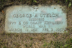 31 August 2017:   Veterans graves in Park Hill Cemetery in eastern McLean County.<br /> <br /> George A Utesch  Illinois  Private 6 Co Coast Artillery  World War I  March 12 1891  Feb 2 1961