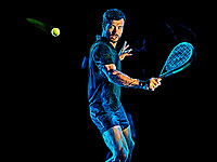 one caucasian Paddle tennis player man studio shot isolated on black background with light painting blur effect