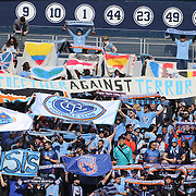 NYCFC fans during the New York City FC Vs New England Revolution, MSL regular season football match at Yankee Stadium, The Bronx, New York,  USA. 26th March 2016. Photo Tim Clayton