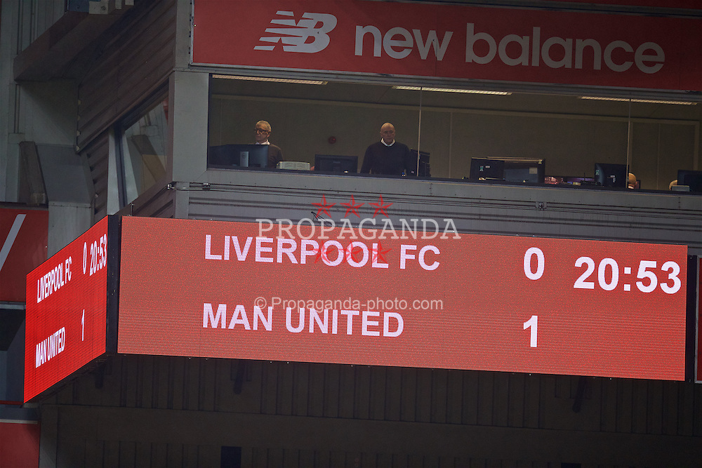 LIVERPOOL, ENGLAND - Monday, January 16, 2017: Liverpool's scoreboard records the 1-0 defeat to Manchester United during the FA Premier League 2 Division 1 Under-23 match at Anfield. (Pic by David Rawcliffe/Propaganda)
