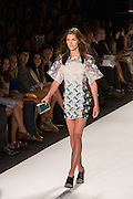 A white, gray and floral print mini-dress with wide half sleeves.