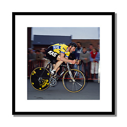 Sean Kelly,<br /> Three Days of De Panne 1986<br /> <br /> Kelly finishing a time trial stage into Herzele in Belgium.