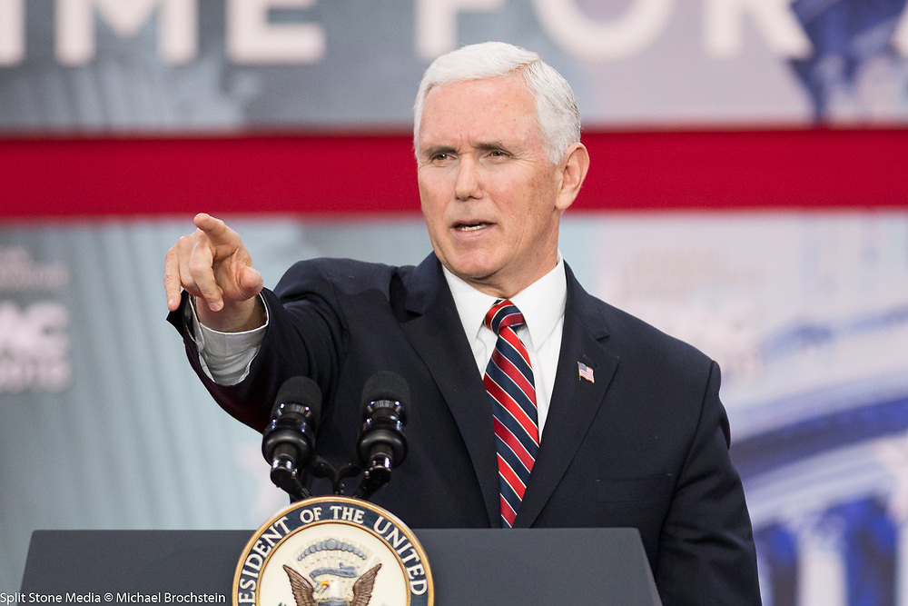 Mike Pence, Vice President of the United States, at the Conservative Political Action Conference (CPAC) sponsored by the American Conservative Union held at the Gaylord National Resort & Convention Center in Oxon Hill, MD on February 22, 2018