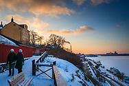 Vinterutsikt från Monteliusvägen på Mariaberget Stockholm i snö