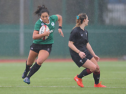 Ireland women's Sene Naoupu and Wales women's Kerin Lake<br /> <br /> Photographer Mike Jones/Replay Images<br /> <br /> International Friendly - Wales women v Ireland women - Sunday 21st January 2018 - CCB Centre for Sporting Excellence - Ystrad Mynach<br /> <br /> World Copyright © Replay Images . All rights reserved. info@replayimages.co.uk - http://replayimages.co.uk