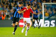 26-08-2015 VOETBAL:CLUB BRUGGE-MANCHESTER UNITED:BRUGGE<br /> Champions League 2015-2016<br /> <br /> Memphis Depay van Manchester United in duel met Davy de Fauw van Club Brugge  <br /> <br /> <br /> Foto: Geert van Erven