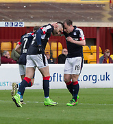 Dundee&rsquo;s Paul McGowan congraulates Marcus Haber after the Canadian striker had scored - Motherwell v Dundee, Fir Park, Motherwell, Photo: David Young<br /> <br />  - &copy; David Young - www.davidyoungphoto.co.uk - email: davidyoungphoto@gmail.com