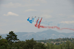French Airforce display team fly overhead in Sisteron, Tour de France stage 19 Embrun to Salon-de-Provence